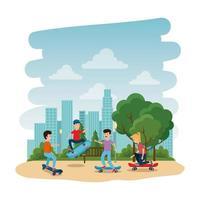 heureux, jeunes enfants, dans, skateboard, parc