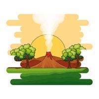 paysage jurassique avec scène de volcan fumant