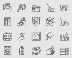 jeu d & # 39; icônes de ligne de nettoyage vecteur