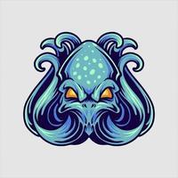 mascotte de poulpe bleu vecteur