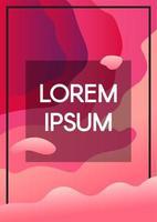 abstrait vagues fluides fond rose avec cadre de texte vecteur