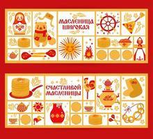 vector set bannière sur le thème du carnaval de vacances russes. traduction du russian-shrovetide ou maslenitsa large.