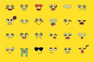 ensemble d'autocollants emoji drôle et mignon vecteur