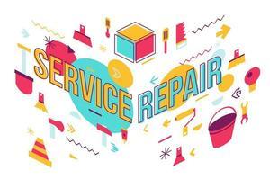 conception de bannière de concept de mot de réparation de service vecteur