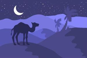 paysage désertique avec illustration plate de silhouette de chameau