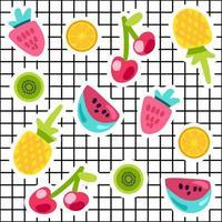 ensemble d'autocollants de couleur doodle fruits tropicaux vecteur