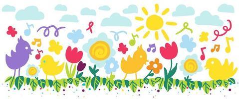illustration de fleur et oiseau couleur été enfant vecteur