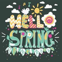 bonjour lettrage de vecteur de dessin animé de printemps