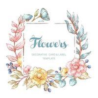 modèle de cadre floral de style aquarelle