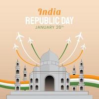 illustration dessinée à la main du jour de la république indienne vecteur