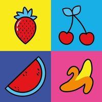 bundle of fruits pop art style icône