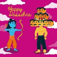 lettrage heureux de dussehra avec le seigneur rama et le démon ravana vecteur