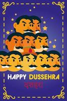 Bonne fête de dussehra avec démon ravana de dix têtes sur fond violet vecteur