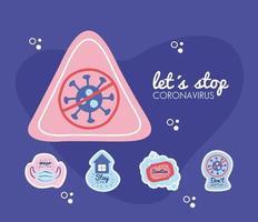arrêtons la campagne de lettrage de virus corona avec un signe triangulaire et des icônes vecteur