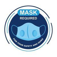 masque requis étiquette circulaire avec lettrage vecteur
