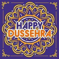 lettrage dussehra heureux avec décoration de mandala vecteur