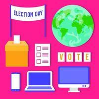 jeu d'icônes de jour d'élection vecteur