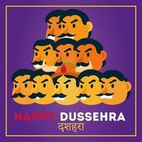 Bonne fête de dussehra avec démon ravana de dix têtes cadre carré vecteur