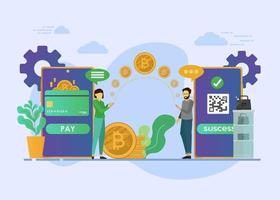 paiement mobile ou concept d'achat de monnaie numérique vecteur