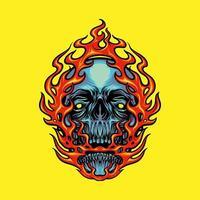 illustration de mascotte tête de crâne de feu