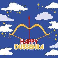Bonne fête de dussehra avec flèche dans le ciel vecteur