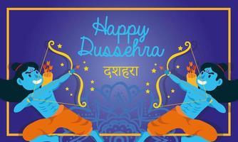 lettrage de célébration de dussehra heureux avec des personnages bleus de seigneurs rama vecteur