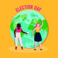 Démocratie le jour des élections avec des filles interraciales avec des cartes de vote