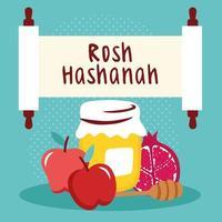 Happy rosh hashanah lettrage en parchemin avec du miel et des fruits vecteur