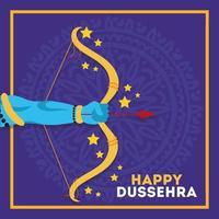 Bonne fête de dussehra avec la main du seigneur rama et l'arme de l'arche vecteur