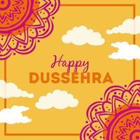 lettrage dussehra heureux avec décoration de mandalas vecteur