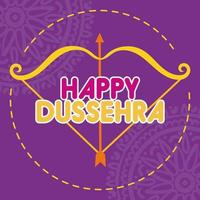 bonne fête de dussehra avec flèche arc et mandalas vecteur