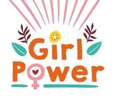 affiche de lettrage de puissance de fille avec des fleurs vecteur