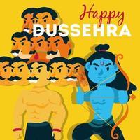 bonne fête de dussehra avec seigneur rama et ravana vecteur