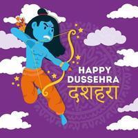 bonne fête de dussehra avec le personnage bleu du seigneur rama vecteur