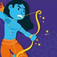 bonne fête de dussehra avec le personnage bleu du seigneur rama