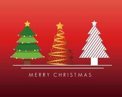 carte de Noël avec des pins