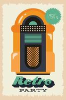 affiche de fête de style rétro avec juke-box et prix d'entrée vecteur