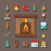 joyeux noël cheminée et chaussettes suspendues avec des icônes de style plat vecteur