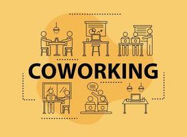 lot de six avatars de travailleurs, icônes de style de ligne de coworking vecteur