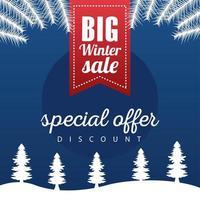 grande affiche de vente d'hiver avec ruban suspendu dans snowscape vecteur
