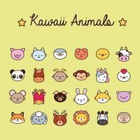 lot de vingt-quatre animaux kawaii ligne et style de remplissage