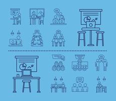 Bundle d'avatars de travailleurs, icônes de style de ligne de coworking sur fond bleu