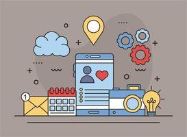 bannière de médias sociaux avec ligne d'icônes et style de remplissage vecteur