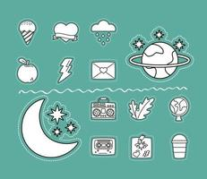 icône d & # 39; autocollants sertie de lune et étoiles
