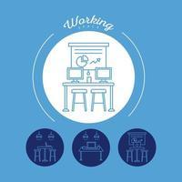 ensemble de quatre avatars de travailleurs, icônes de style de ligne de coworking