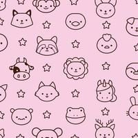 lot d & # 39; animaux kawaii avec style de ligne étoiles