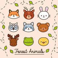 lot d'animaux kawaii avec des feuilles et un style de remplissage