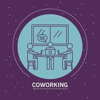 ensemble d'avatars de travailleurs, icônes de style de ligne de coworking