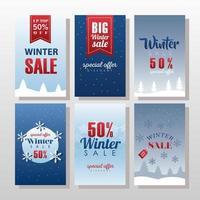 six grandes lettres de soldes d'hiver avec des rubans et des flocons de neige