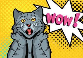surprise pop art de chat vecteur